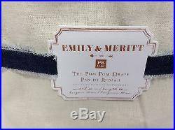 Pottery Barn Teen Emily Meritt Natural Pom Drapes Curtains Panels Blackout 44x63
