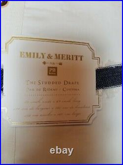 Pottery Barn Teen Emily Meritt Studded Blackout Panel Curtain 96 Ivory #7734B