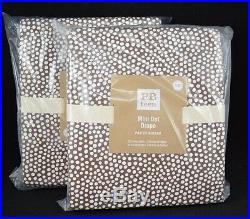 Pottery Barn Teen Mini Dot Panels Drapes Curtains Coffee Brown 96 S /2 #249