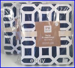 Pottery Barn Teen Set 2 Peyton Blackout Drapes Royal Blue 84 Long NEW