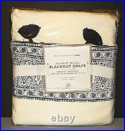 Pottery Barn Teen Set of 2 Anjolie Tassel Blackout Drape Curtain Navy 52 x 96