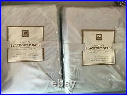 Pottery Barn Teen Set of 2 Pintuck Blackout Curtain Panel White 63 NEW