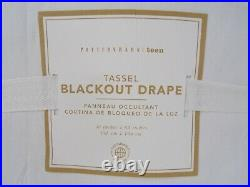 Pottery Barn Teen Tassel Blackout Drape Panel Curtain 63 Gold White S/ 2 #8148