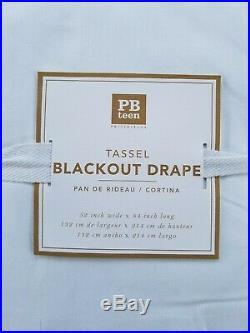 Pottery Barn Teen Tassel Blackout Panel Curtain Cool Blue 84 #3183