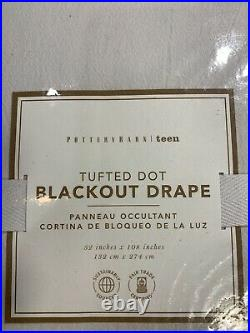 Pottery Barn Teen Tufted Dot Blackout Curtain Panel, 52 wide X 108 long, Black