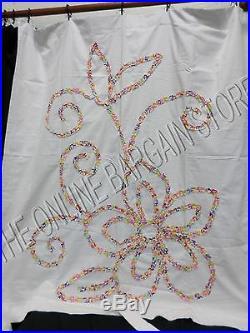 Pottery Barn Teen Wailele Floral Applique Blackout Drapes Curtains Panels 52x84