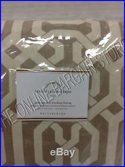 Pottery Barn Terri Trellis Drapes Panels Curtains BLACKOUT Liner 50x108 Neutral