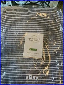 Pottery Barn Ticking Stripe Ruffled Shower Curtain Blue White 100% Cotton 72