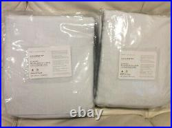 Pottery Barn Two (2) Belgian Flax Linen Blackout Curtains 100x108 White Pole Top