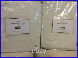 Pottery Barn Two (2) Belgian Flax Linen Drape Curtains 50x96 Ivory Pole Top