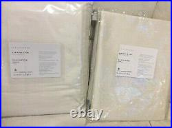 Pottery Barn Two (2) Dupioni Silk Curtains 48x96 Ivory NWT Drapes Cotton Lining