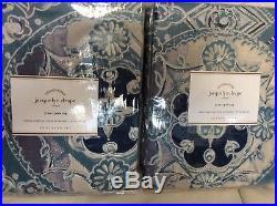 Pottery Barn Two (2) Jacquelyn Drapes 50x96 NIP! Linen Cotton Blue