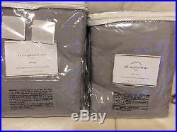 Pottery Barn Two (2) Silk Dupioni Drapes 104X108L New! Platinum Grey Pole Top