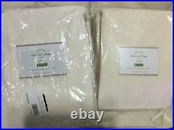 Pottery Barn Two (2) Velvet Twill Drapes 50X108 New! Ivory Curtain Panel