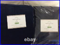Pottery Barn Two (2) Velvet Twill Drapes 50X84 New! Navy Blue Curtains Panels