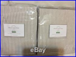 Pottery Barn Two (2) Wheaton Stripe Grommet Drapes 50x84 Neutral NIP Ivory Beige