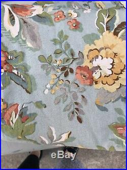 Pottery Barn VANESSA Blue Floral Lined Curtains 2 Panels 50 X 84 Linen Blend