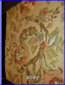 Pottery Barn Vanessa Drapes Pair 50x 96 L Curtain Panel Floral Tan Coral Lined