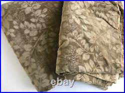 Pottery Barn Velvet Floral Curtains Drapes 46 x 84 Set of 2 Light Brown EUC