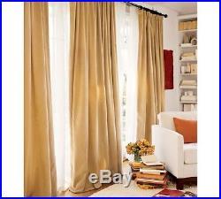 Pottery Barn Velvet Pole Pocket Drape Panels Curtain One Pair (2) 50x84 Gold