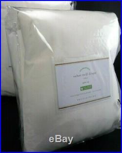 Pottery Barn Velvet Twill Curtain Drape Panel Cotton Lined Ivory S/ 2 96 #6001
