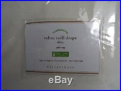 Pottery Barn Velvet Twill Curtain Drape Panel Cotton Lined S/ 2 Ivory 84 #4556