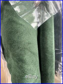Pottery Barn Velvet Twill Drape Curtains Set Of 2 Hunter Green Christmas Panels