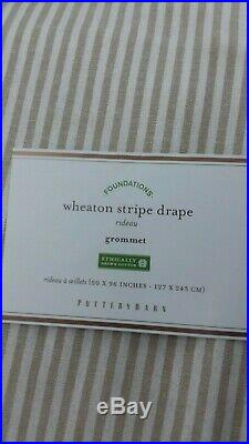 Pottery Barn Wheaton Stripe Panels Curtains Drape Neutral 50x 96 Set of 2 #4601