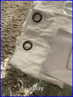 Pottery Barn White Cameron Cotton Drape 2 Pc Set Curtain Panels 50x96