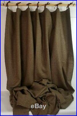 Pottery Barn Wool Tweed Curtain Herringbone Lined Drapes Brown 1 Pair 108x84