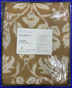 Pottery Barn Zama Print Linen/Cotton Rod Pocket Blackout Curtain, Mustard 50x84