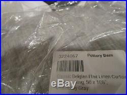 Pottery Barn classic BELGIAN FLAX LINEN curtain drape 50 108 chambray gray New