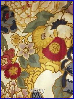 Pottery Barn drapes curtains floral, multicolored, red, green, blue, ivory 4 pc