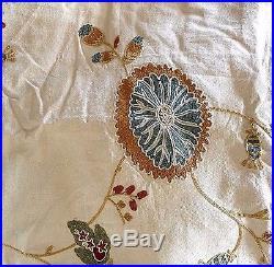Pottery Barn margaritte embroidered 50x96 drape multi color TWO PANELS NWOT