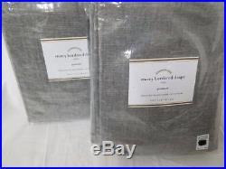 Pottery Barn set of 2 EMERY BORDER LINEN DRAPES 50x96 Gray