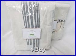 Pottery Barn set of 2 RIVIERA STRIPE DRAPES Charcoal 50x108 Blackout