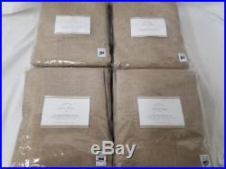 Pottery Barn set of 4 EMERY LINEN/COTTON DRAPES 50x108 walnut Blackout