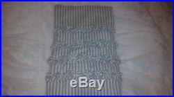 Pottery Barn ticking stripe ruffle shower curtain porcelain blue / off white HTF