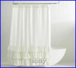 Pottery barn Belgian Flax Linen ruffle Shower Curtain original $109 white