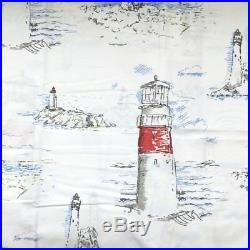 Pottery barn LIGHTHOUSE PRINT shower curtain grey red white blue