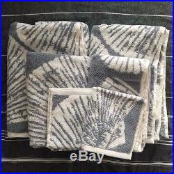 Pottery barn Morgan shower curtain shell JACQUARD bath TOWEL set 7pc
