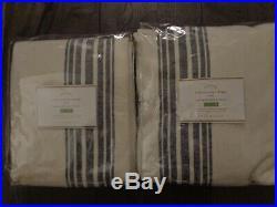 Pottery barn RIVIERA STRIPE BLACKOUT CURTAINS-SET OF 2-NAVY-50 X 84-NIP-$280