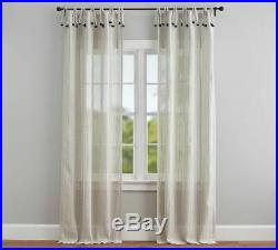 Pottery barn STRIPED LINEN TIE TOP TASSEL SHEER CURTAINS-FLAX-50 X 84-NEW IN PA