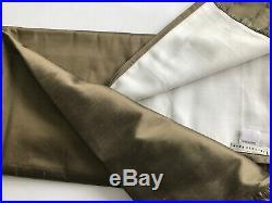 Pottery barn Silk Dupioni 50x84 Olive Green Curtains Drapes Set of 6 w Tie Backs