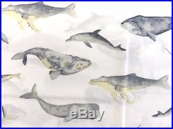 Pottery barn sea pod whale dolphin PRINT shower curtain grey yellow white