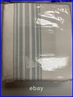 Riviera striped Linen/cotton Rod Pocket Blackout Curtain 50x84 Porcelain blue