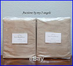 S2 NEW Pottery Barn LINEN SILK BLEND CURTAINS Drapes Panels 50x108 TAUPE NEUTRAL