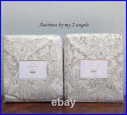 S2 NEW Pottery Barn MACKENNA PAISLEY Curtains Panels Drapes 50x108 TAUPE gray