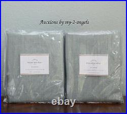 S2 Pottery Barn BELGIAN LINEN Libeco Unlined Curtains 50x84 SOFT MINT Sage Green