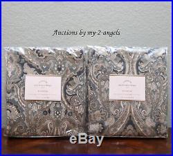 S2 Pottery Barn MACKENNA PAISLEY Curtains Panels Drape Cotton Lining 50x108 BLUE